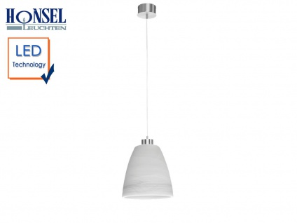 Honsel LED Pendelleuchte mit Glasschirm weiß Ø 21cm, Hängelampe Esstischlampe