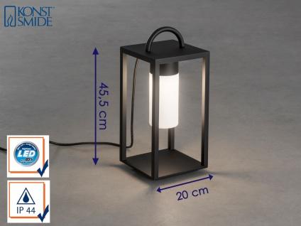 Bodenlaterne Terrassenleuchte LED Alu schwarz opale Glas IP44 Gartenbeleuchtung
