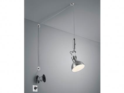 Silber matte Pendellampe mit Kabel & Stecker für Steckdose - Schirm schwenkbar - Vorschau 1