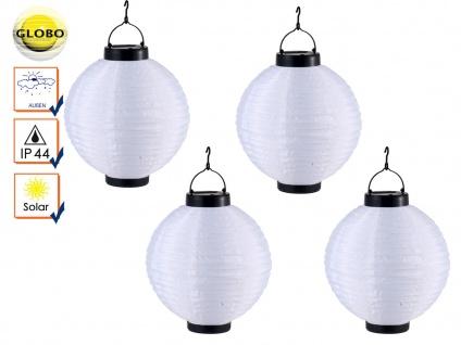 4er Set LED Solarleuchten Lampion weiß 25, 5cm, Beleuchtung Terrasse Garten