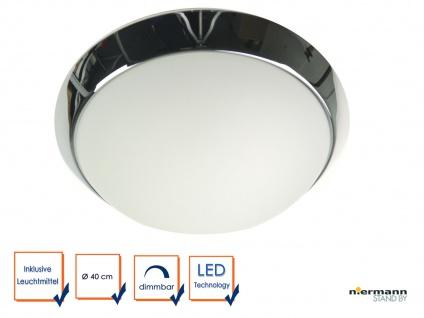 LED Deckenlampe Glas matt mit Dekorring in Chrom Deckenschale rund Ø 40cm