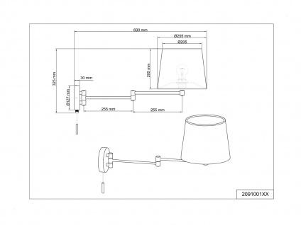 Schwenkbare Wandleuchte mit Gelenkarm - LED Leselampe für Bett und Wandmontage - Vorschau 5