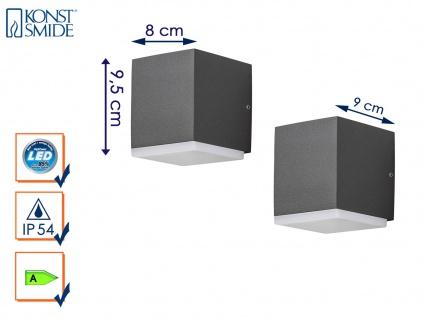 2er Set LED Außenwandleuchte Alu Anthrazit, 6W IP54 Fassadenbeleuchtung Garten - Vorschau 1