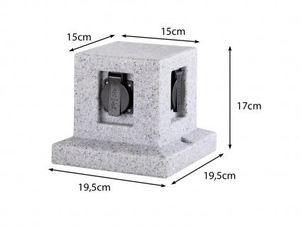 Außensteckdosen Granitoptik 4 fach - 2er Set Gartensteckdosen Terrassensteckdose - Vorschau 3