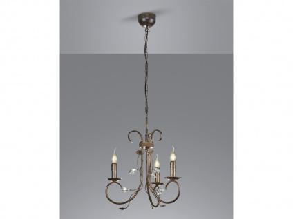 3 fl. Antik Look Kronleuchter aus Metall mit Blätter Design & Kerzenlicht, Rost
