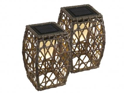 LED Solarstehlampen 2er SET für draußen, Gartendeko mit Geflecht-Design, braun - Vorschau 2