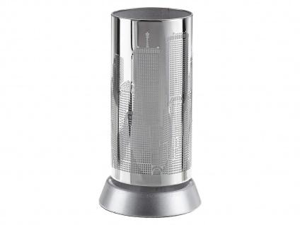 Moderne LED Tischleuchte Metall mit Lasercut Motiv in Weiß Ø 9cm für Wohnzimmer