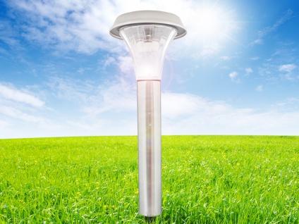 LED Erdspieß Wegeleuchte - Solarlampe für den Garten aus Edelstahl, IP44, silber