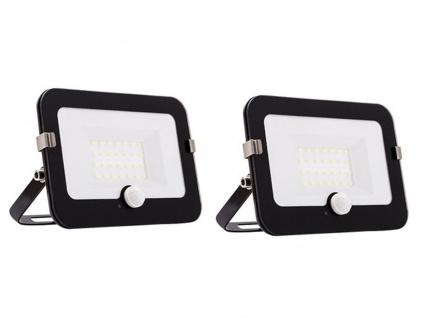 2er Set 20W LED Strahler schwarz, Fluter mit Bewegungsmelder, flaches Design