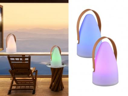 Bunte LED OUTDOOR Tischleuchte für Außen mit Farbwechsel & Akku Batterie USB