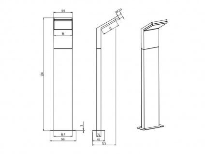 LED Pollerleuchte in Anthrazit 50cm - 3er Set Wegeleuchten Terrassenbeleuchtung - Vorschau 4