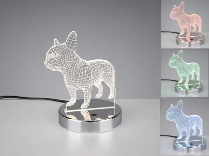 LED Lichtobjekt 3D Optik Hundelampe BULLDOG Lampe mit Farbwechsel Tischleuchte
