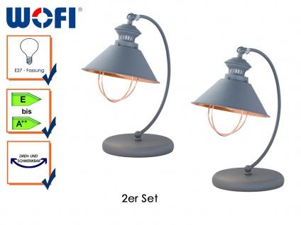 2er Set Retro Tischleuchte FLORENCE, H. 40cm, Tischlampe Schreibtischlampen