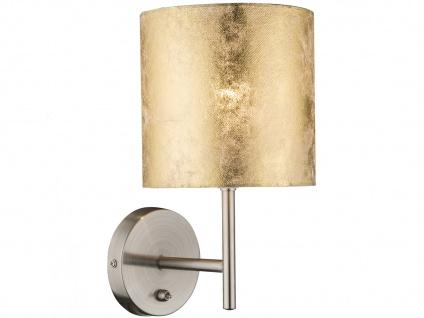 Wandleuchte AMY mit Schalter, Lampenschirm Textil gold, Wandlampe Flurlampe