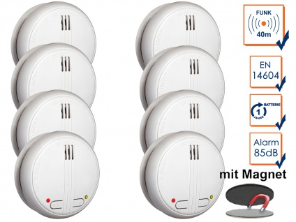 8er SET Funkrauchmelder 40m Reichweite bis 20 Melder koppelbar + Magnethalter