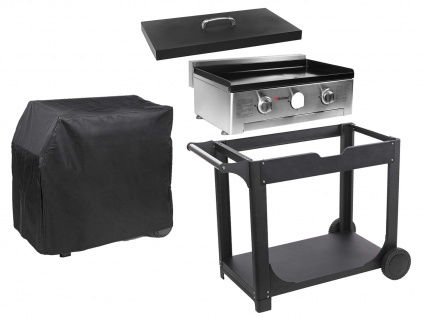 BBQ Outdoor Grill SET: Gas-Backplatte + Deckel + Rollwagen + Abdeckung