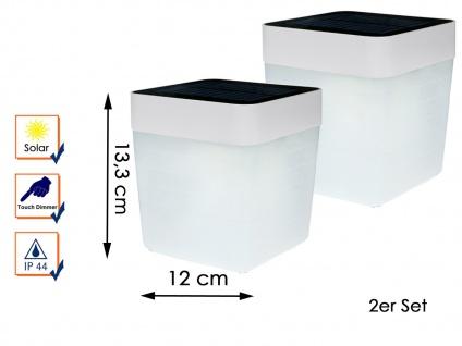 2 Solar LED Leuchten Weiß 3-Stufen Dimmer H. 13, 3cm IP44 Terrassenbeleuchtung