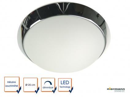 LED Deckenleuchte Opalglas matt, Dekorring Chrom, Ø 25cm Bürobeleuchtung
