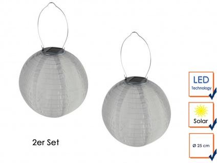 2er Set Solarlaterne Gartenlampion LED Ø25cm Wetterfest Terrassenbeleuchtung