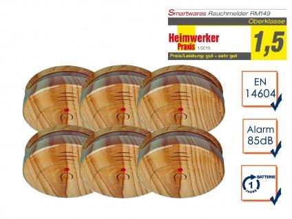 6er-SET Rauchwarnmelder in Holzoptik - Feuermelder Brandmelder Feuer Brand Alarm - Vorschau 1