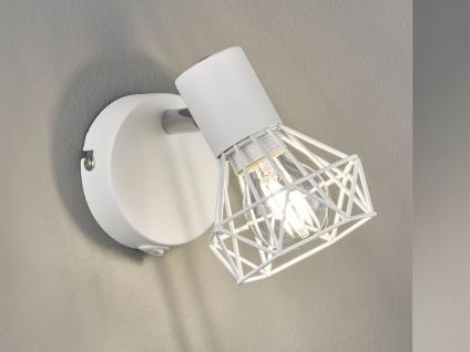 LED Wandstrahler 1 flammig mit Schalter & Gitterschirm Weiß Industrial Wandspot