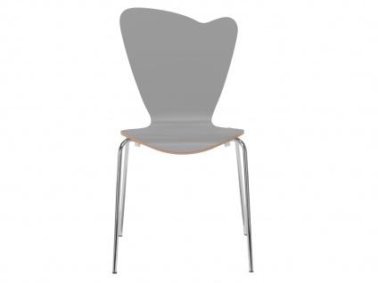 Design Stuhl HEART in grau, Stapelstuhl Esszimmerstuhl Bistrostuhl Schalenstuhl - Vorschau 2