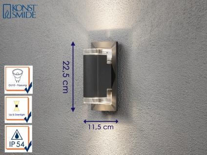 Außenwandleuchte Alu anthrazit 2x GU10-Sockel UP & DOWN Wegeleuchte Gartenlampe
