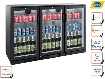 Gastro Getränkekühlschrank m. Glastür 330L, Flaschenkühlschrank Profi