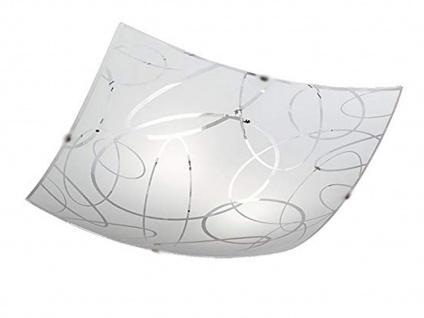 Glas Deckenschale 50x50cm, 'DIMMBAR in weiß mit dezentem Dekor, Flurleuchte E27