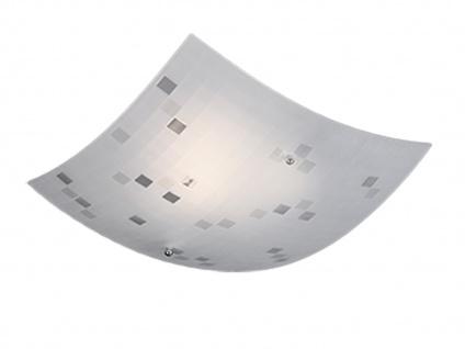 Eckige Deckenlampe 40x40cm, Glasschirm satiniert in weiß, dezent grau gemustert - Vorschau 2