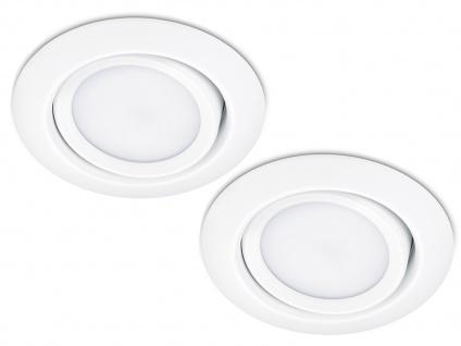 LED Einbaustrahler Decke 2er Set rund schwenkbar Weiß matt 5W Deckenleuchten