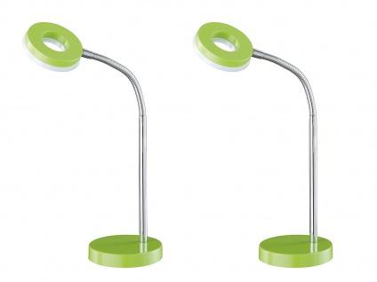 2er SET moderne LED Schreibtischlampe mit Flexarm fürs Büro in Grün Tischleuchte