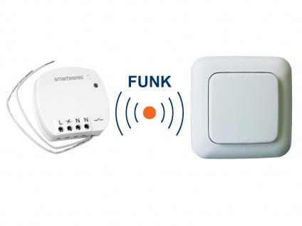 Funk Schalter Set = Mini Funk-Einbauschalter + Funk-Wandschalter Fernbedienung