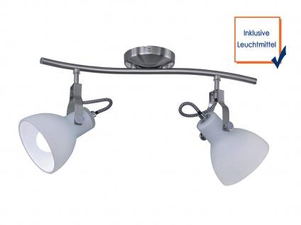 Coole Designer LED Strahlerleiste mit 2 dreh+schwenkbaren Spots in Nickel matt - Vorschau 3