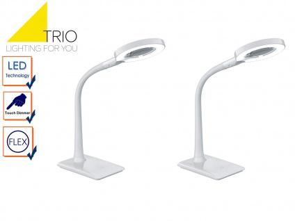 LED Schreibtischlampen Set weiß mit Lupe, Tischlampen mit 3-fach Touchdimmer