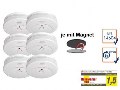 6er-SET Rauchmelder 5 Jahres Batterie TÜV geprüft + Magnetbefestigung Alarm