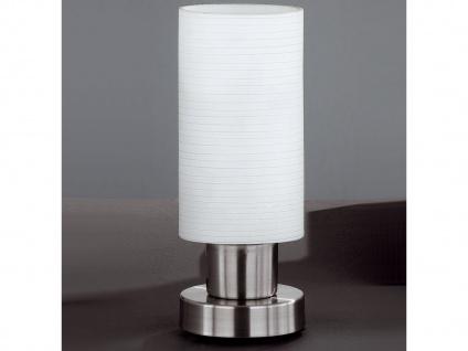 Tischleuchte mit weiß gewischtem Glas, Fuß Nickel matt, Honsel-Leuchten