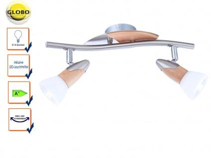 Globo Deckenleuchte Deckenstrahler LORD mit LED, Nickel / Holz, Schirm satiniert