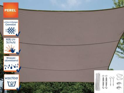 Sonnensegel Rechteckig 2x3m Braun mit Ösen für Balkon Terrasse Sonnenschutzsegel