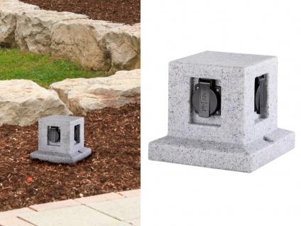 Außensteckdose Steinoptik 4 fach Gartensteckdosen Terrassensteckdose für draußen
