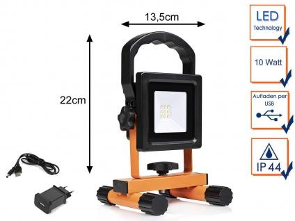 10W LED Baustrahler mit Akku & USB Kabel - Baustellenlampe Baustellenstrahler