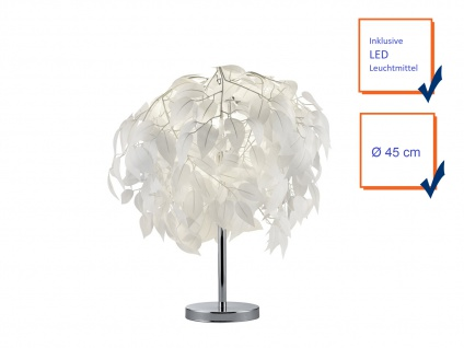 LED Tischleuchte Lampenschirm Ø45cm mit Blättern in Feder Optik fürs Wohnzimmer - Vorschau 3