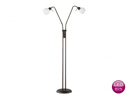 LED Stehleuchte Leselampe flexibel, rost antik Glas weiß, Stehlampe Landhaus