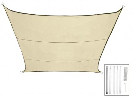 Sonnensegel Quadratisch Creme 3, 6m mit Stangenset für Garten Sonnenschutzsegel