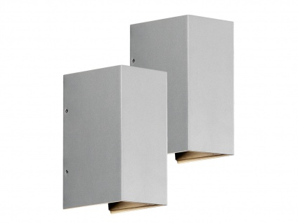 2er-Set LED Wandleuchte CREMONA grau, verstellbarer Lichtaustritt