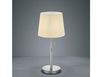 Coole höhenverstellbare LED Tischlampe mit großem runden Stoffschirm und Seilzug