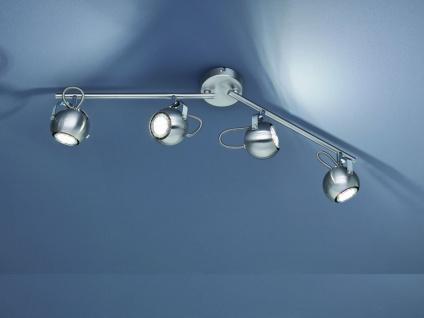 Moderne LED Deckenleuchte Strahler 4 flammig silber matt mit schwenkbaren Spots