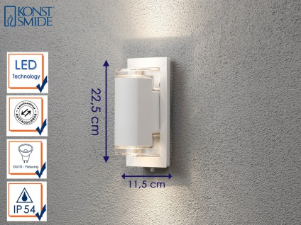 Außenwandleuchte Alu weiß mit 2x 5W LED UP & DOWN Wegeleuchten Gartenlampen