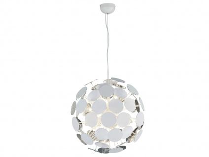 Edle LED Pendelleuchte Lampenschirm Weiß matt / Silber Ø 54cm - Wohnzimmerlampen