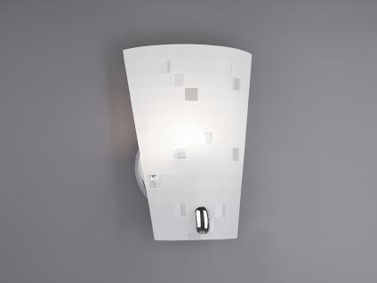 Schöne Wandleuchte mit satiniertem Lampenschirm aus Glas in weiß, grau gemustert
